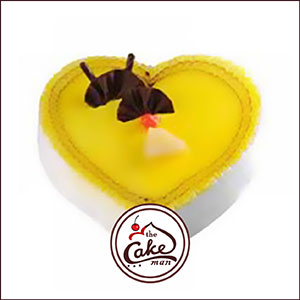 Pineapple heart shape jelly cake